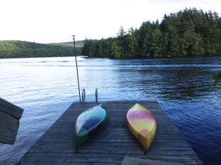 Our kayaks on the dock, Matilda Bay, Cranberry Lake