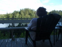 Pat contemplating our little inlet on Cranberry Lake